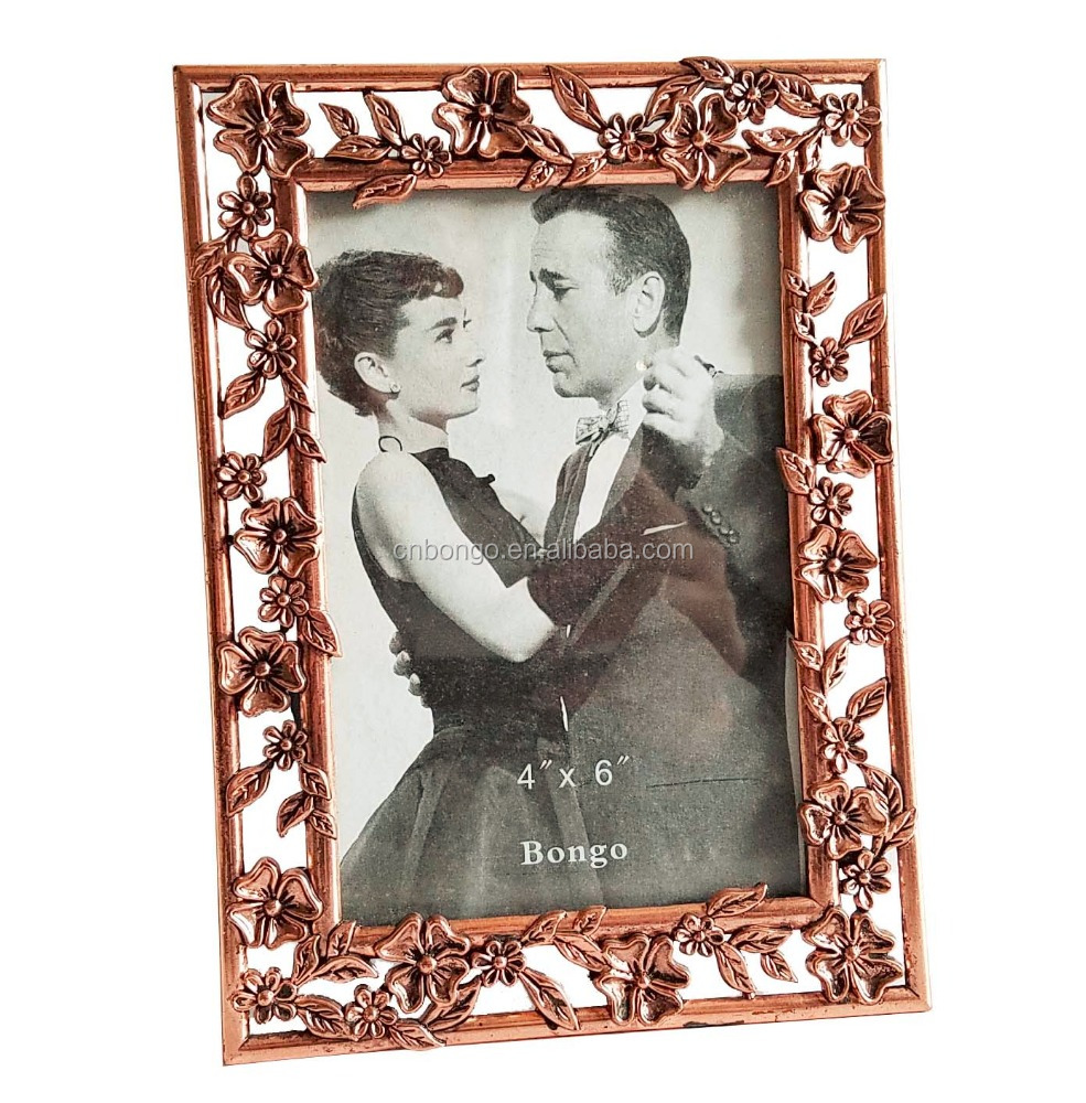 red brass color metal alloy picture photo frame