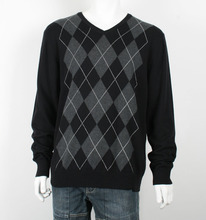 Mens V Shape Neck Intarsia Sweater
