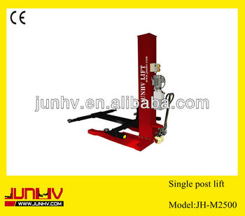 Portable single post hydraulic car lift