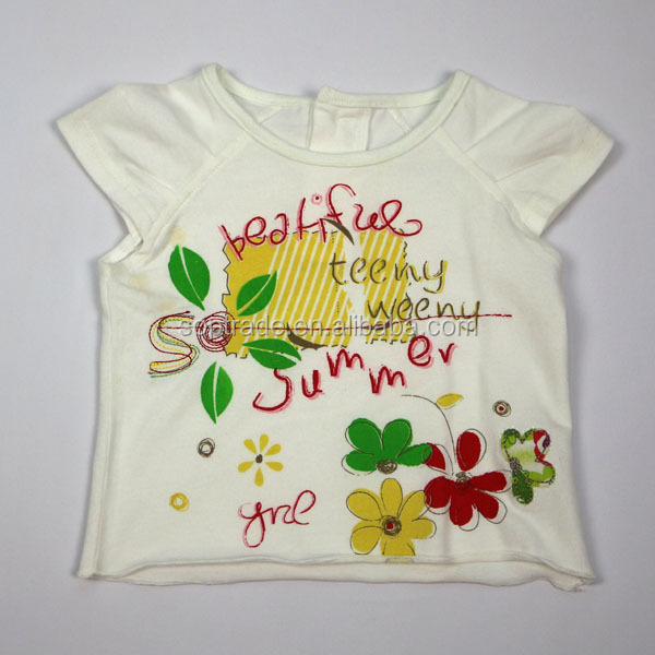 Custom girls printing tshirt short sleeve blouse top kids summer t shirt