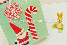 ho christmas printed cute santa cluas paper gift bags with snow shaped tag