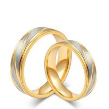 Gold Colour Titanium Steel Magnetic Cute Couple Ring