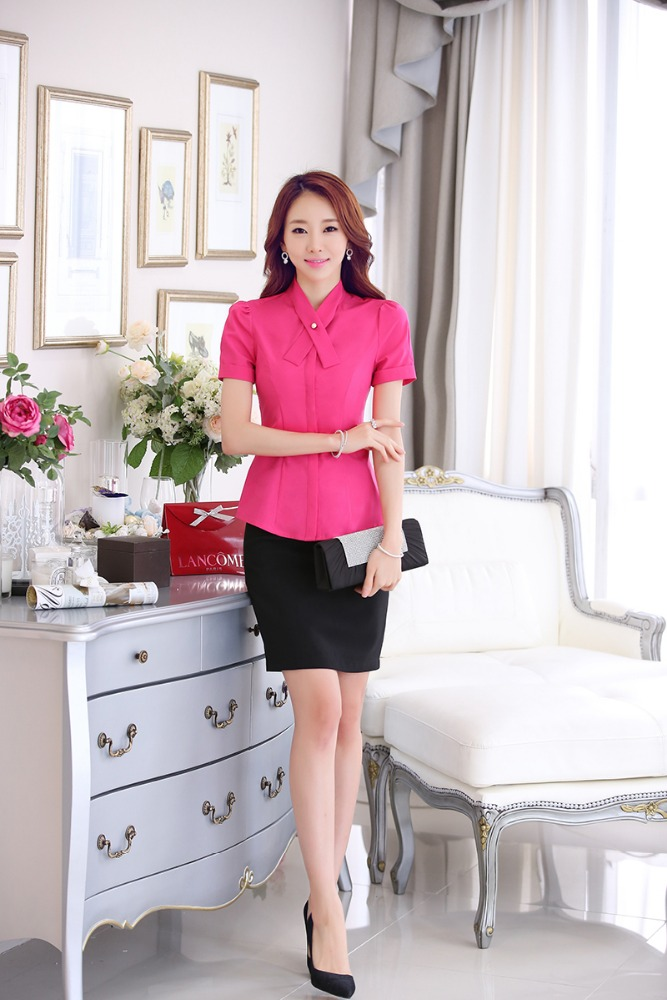 2017 Hot Sale Casual X Collar Female Office Uniform Designs from China