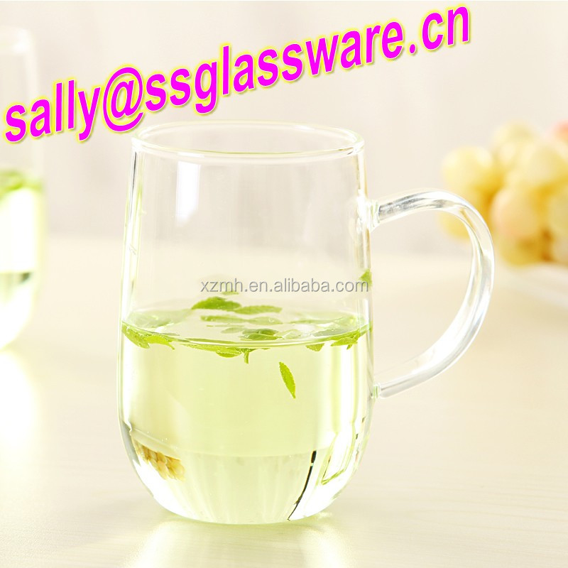 New design clear glass water tea juice cup/mug with handle