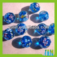 round transparent blue glass beads mixed flower foil beads
