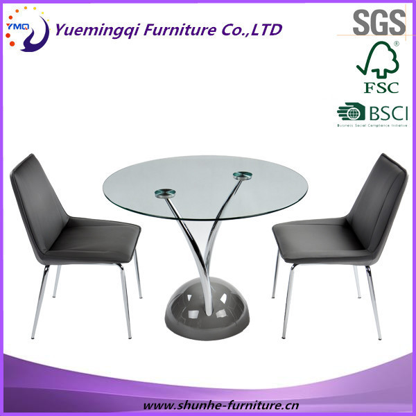 glass and metal conference room table and chair/small meeting table and chair/latest design round top office table and chair
