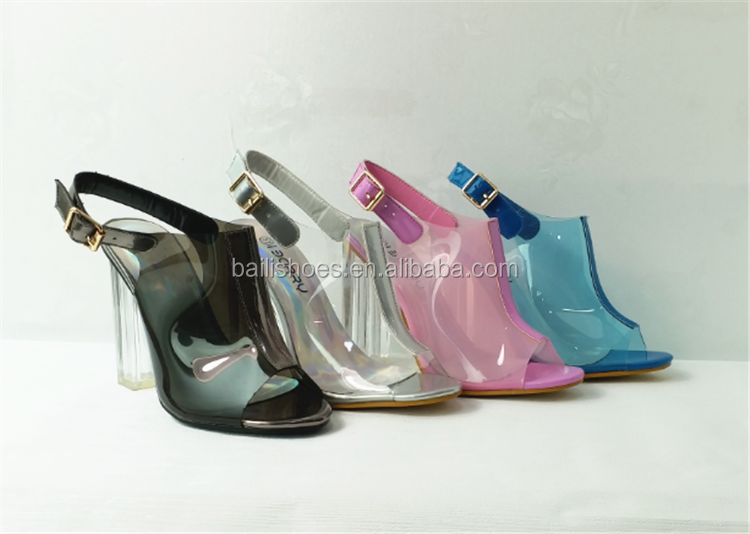 Baili fashion sandals fish head PVC glass high heel summer women shoes