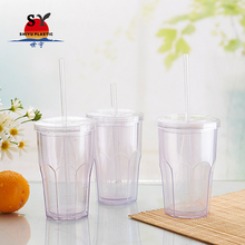 Hot sales 550ml juice clear transparent double wall travel layer beer gel freezer plastic mug with straw