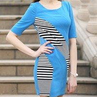 formal dresses for women office lady tight slim bodycon striped patchwork latin dress fashion brand name clothing factory