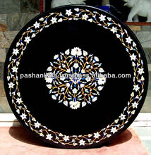 Round Black Marble Stone Inlaid Dining Table Top Manufacture
