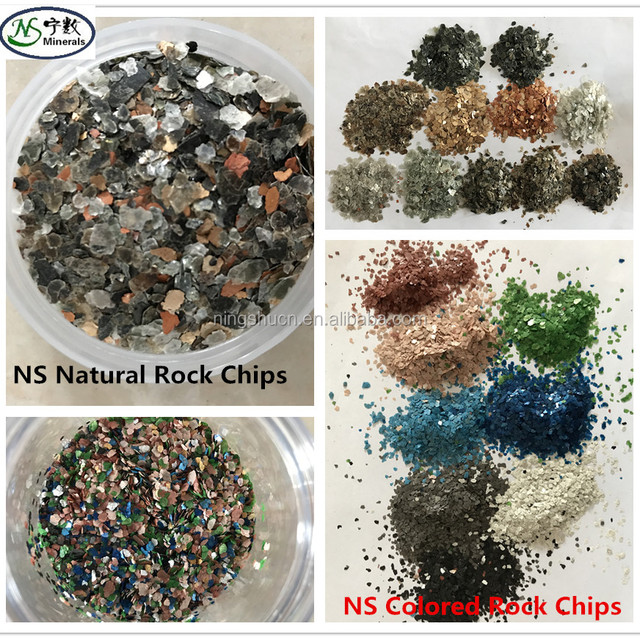 colored rock chip mica for construction, interior decoration, wall stone paint