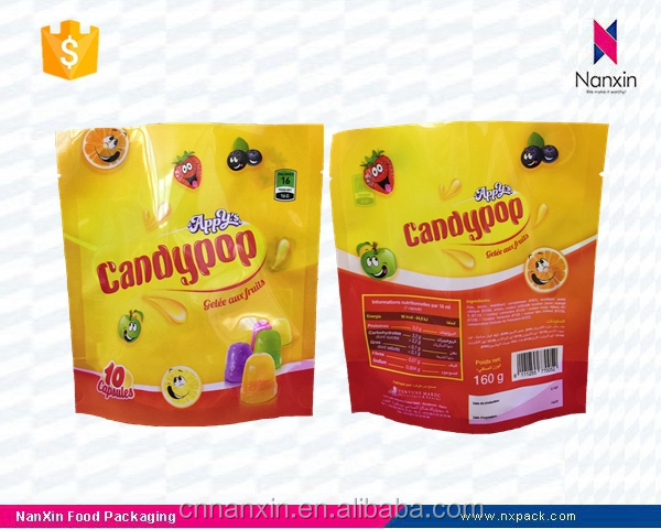 laminated candy packaging stand up pouch