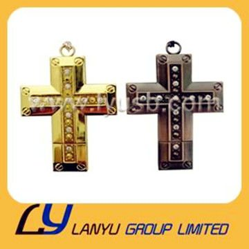 cross jewellery pendrive 4gb,golden cross-shaped diamond pendrive 2gb 4gb,crossing crystal usb pendrive 2gb 4gb for Chirstmas