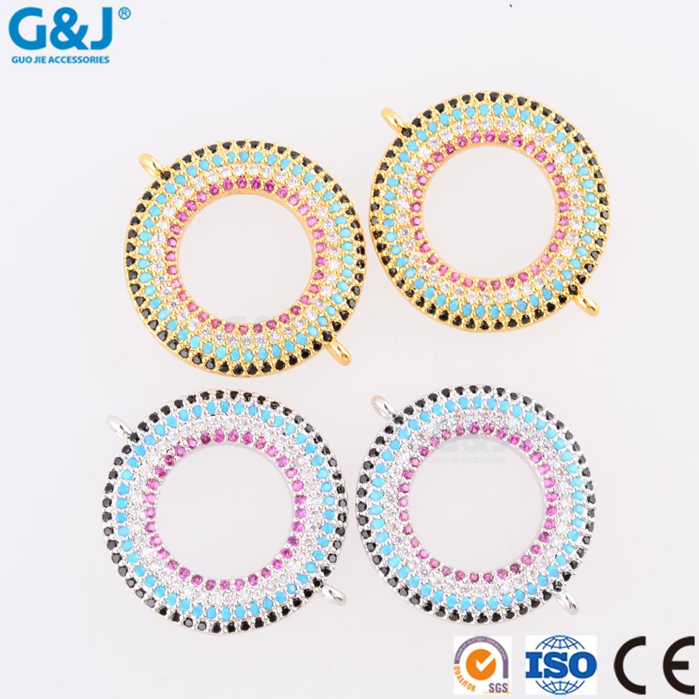 Guojie brand wholesale fashion high quality round ring shape jewelry brass charm pendant