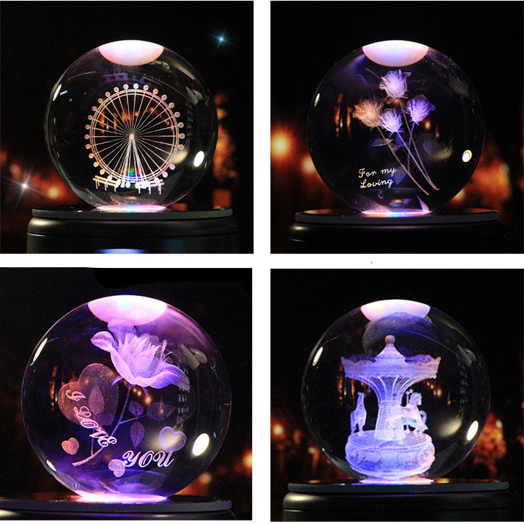 High quality 3D Laser engraving Crystal Cube business souvenir gift
