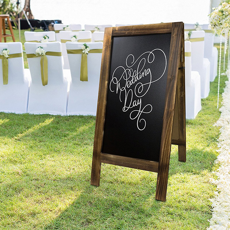Wooden A frame standing chalk board for message writing