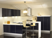 modern new model MDF black lacquer integrated kitchen cabinet