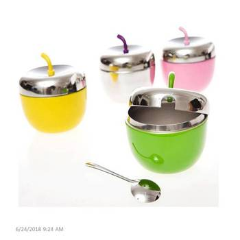 New Design Kitchen Useful Apple Shape Stainless Steel Seasoning Pot