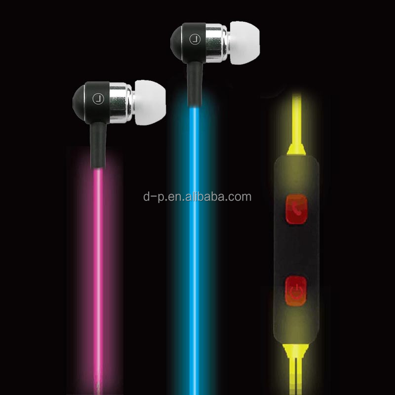 running gaming inear headphone with mic glowing led light earphones innovative gift wholesale