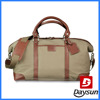 Fashion style leather deluxe canvas duffle weekender bag