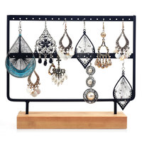 Solid wood jewelry display shelf steel earrings storage rack counter jewellery stand holder