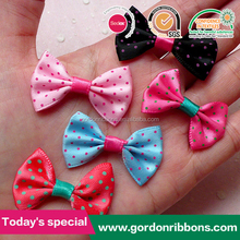 Sweet Polka Dot Simple Bow / Cheap Ribbon Flower with Rubber Band for Bottle Neck Deco