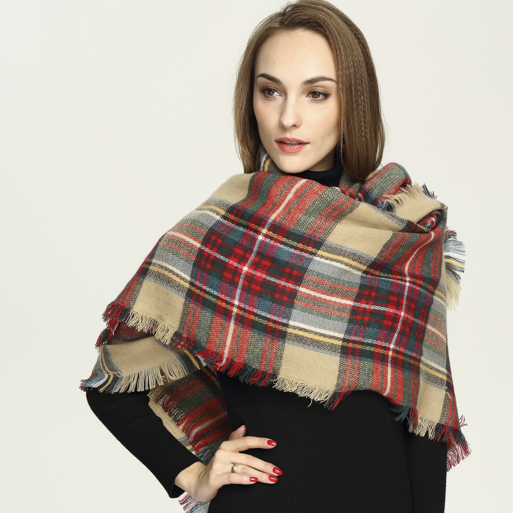 Xincheng square tartan blanket scarf with higher quality