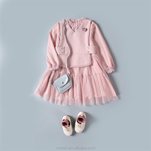 fashion newest hot selling pink warm frock design for baby girl latest children frocks designs 2017