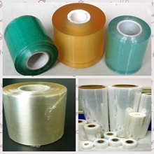 pvc stretch wrap green&yellow color transparent film roll used for wrapping of electircal wires and cables