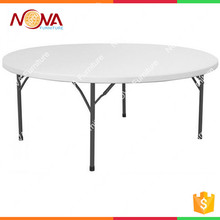 Outdoor furniture simple modern design used easy carrying suitcase shape 180cm HDPE plastic material folding picnic round tables