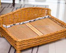Handmade small dark brown weaving Wicker dog bed/Canopy snuggle beds for dogs