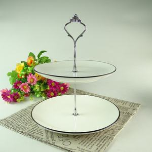 Decoration round 2 tier ceramic porcelain white cup cake plate display stand wedding cake stand set