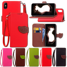 Free Distribution Lanyard TPU Flip Wallet Stand Cover For Apple iPhone X Flip Cover Phone Case