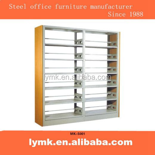 Steel office furniture file storage bookcase rack cabinet metal six layer double wooden side bookshelf library furniture antique