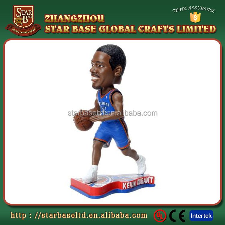 Handsome black nba basketball player figurine custom resin famous people bobble head