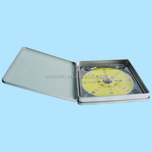 Personalized cd metal tin case,custom metal dvd case with hinge