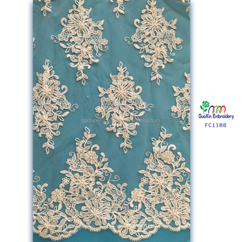 2016 wholesale new design french beaded lace fabric/Elegant guipure pearl beaded lace fabric for garment