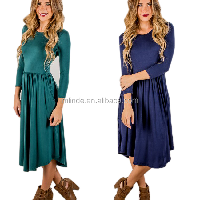 2017 Fashion Clothing Women Dress Design Loose Fit Cotton Jersey Plain Long Sleeve Shift Pleated Midi Sundress