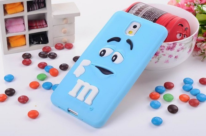 3D cute cartoon M&M Chocolate jelly Bean Silicone Case For Samsung galaxy note 3 n9000,300pcs/lot