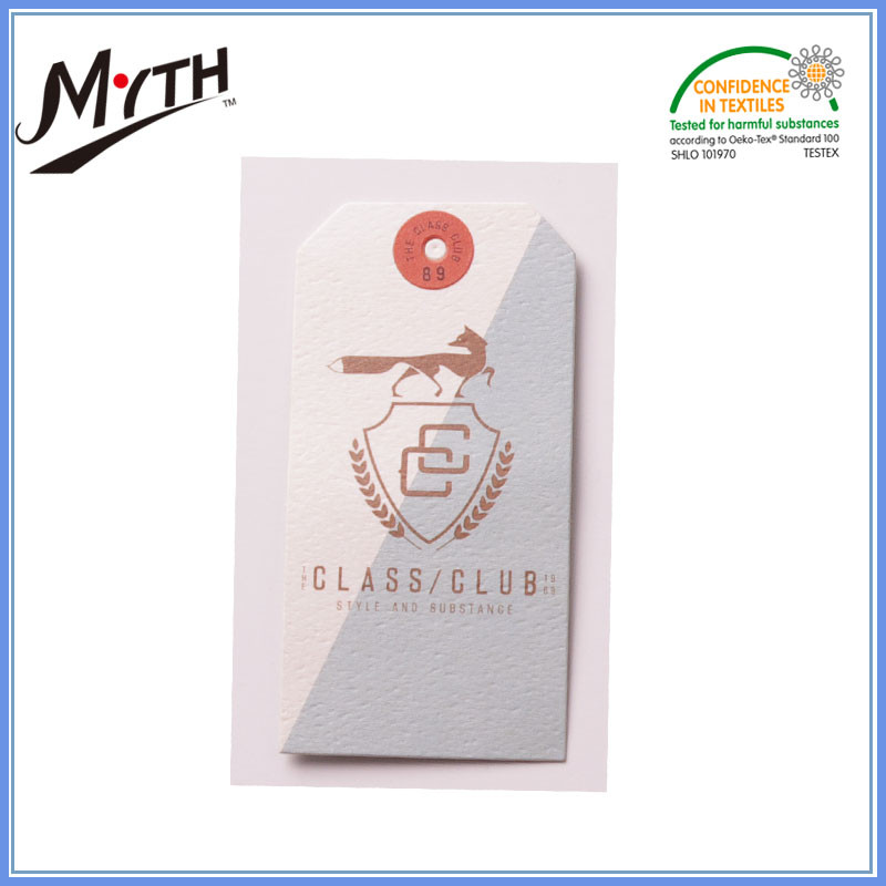 Fashion fancy luxury kids custom brand name recycled paper clothing hang tags for socks