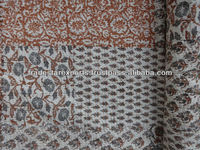 Hand Block Print Patchwork Kantha Quilt, Cotton Bedspread Made Using Vegetables Colors, Royal & Elegant Finish Bed Sheet