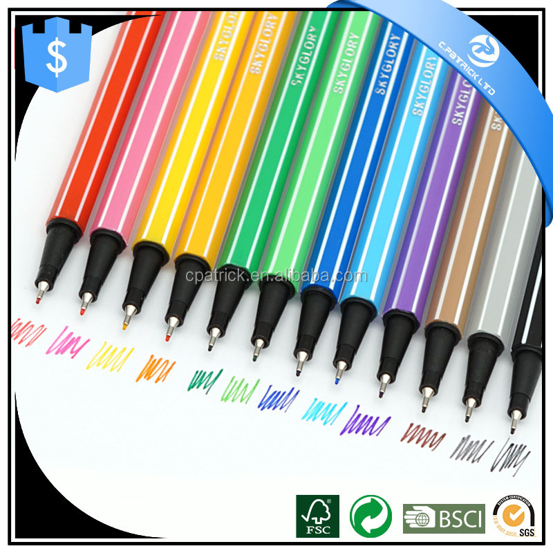 Water-based ink color pens with lines printing on the pen body