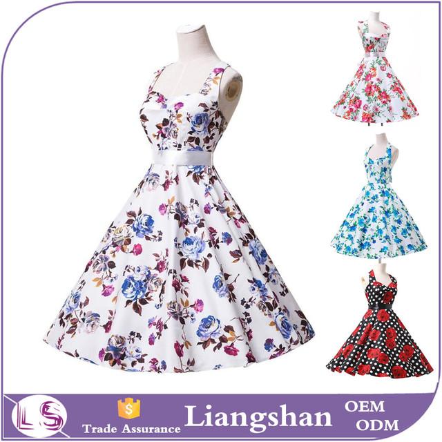 2016 Womens 50's dress ladies Halter floral style Vintage retro dress