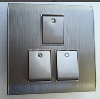 Brushed Grey 3 gang 1 way wall switch