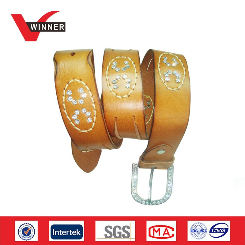 Brown metal rhinestone belt for ladies