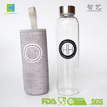 550ML Customized Glass Water Bottle with Neoprene Sleeve