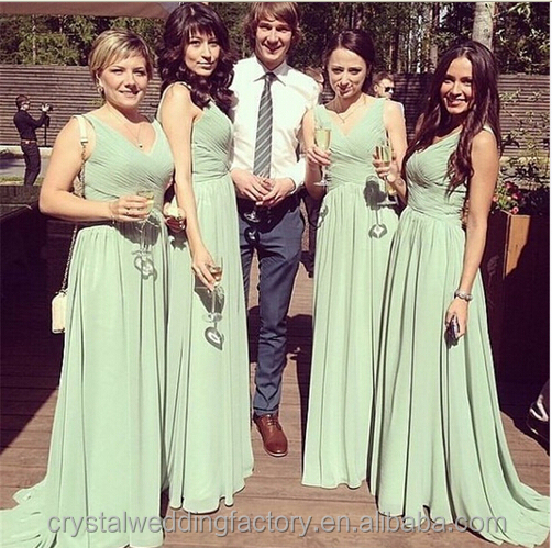 Cheap 2016 Mint Green Formal V-Neck Pleated Floor Length Chiffon Long Bridesmaid Dresses LB2299