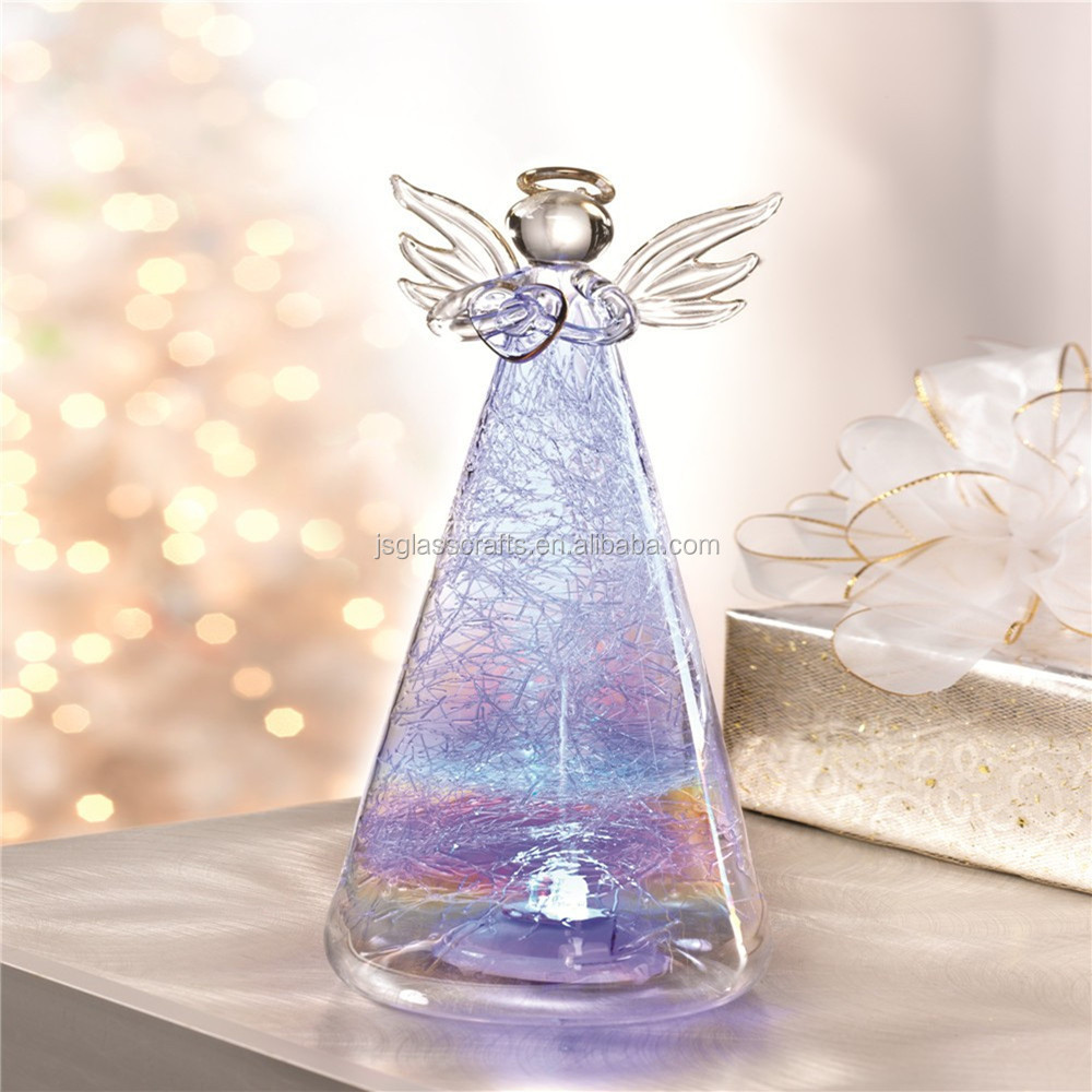 Color changing light up glass angel for Christmas indoor table decoration