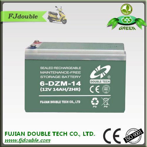 AGM 6-DZM-14 sealed maintenance free lead acid battery electric vehicle battery 12v 14ah