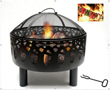 Metal round outdoor fire pit